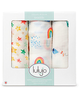 Lulujo Baby Set of 3 Cloths 120 x 120 cm, High in the Sky - Bamboo muslin Swaddles