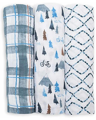 Lulujo Baby Set of 3 Cloths 120 x 120 cm, Navy Mountain - Cotton muslin Swaddles
