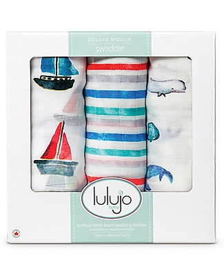 Lulujo Baby Set of 3 Cloths 120 x 120 cm, Out at the Sea - Bamboo muslin Swaddles