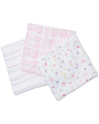 Lulujo Baby Set of 3 Cloths 120 x 120 cm, Pink Floreal - Cotton muslin Swaddles