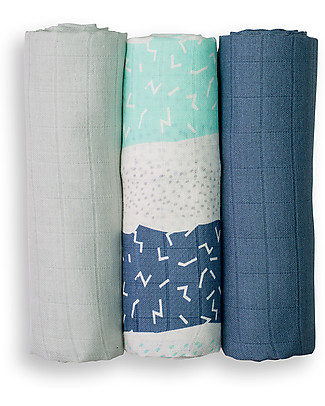 Lulujo Baby Set of 3 Cloths 70 x 70 cm, Blue Stripes - 100% cotton muslin Swaddles