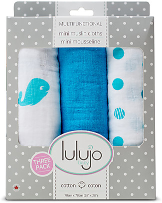 Lulujo Baby Set of 3 Cloths 70 x 70 cm, Brilliant Blues - 100% cotton muslin Swaddles