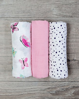 Lulujo Baby Set of 3 Cloths 70 x 70 cm, Butterfly - 100% cotton muslin Blankets