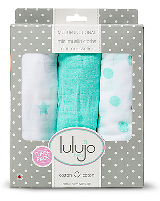 Lulujo Baby Set of 3 Cloths 70 x 70 cm, Dreamland - 100% cotton muslin Swaddles