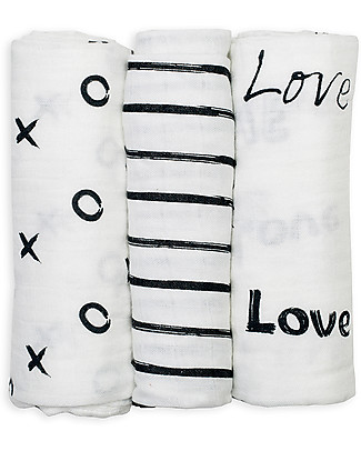 Lulujo Baby Set of 3 Cloths 70 x 70 cm, Modern Black & White - 100% bamboo muslin Swaddles