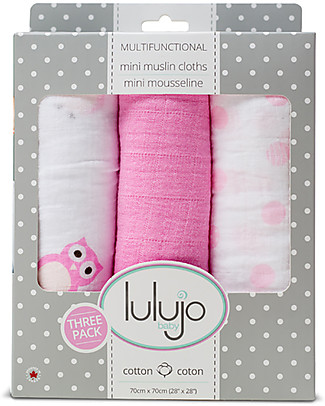 Lulujo Baby Set of 3 Cloths 70 x 70 cm, Owls Always Love You - 100% cotton muslin Swaddles