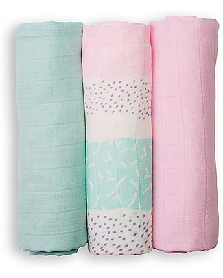 Lulujo Baby Set of 3 Cloths 70 x 70 cm, Pink Stripes - 100% bamboo muslin Swaddles