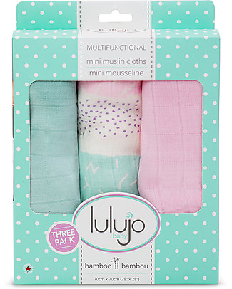 Lulujo Baby Set of 3 Cloths 70 x 70 cm, Pink Stripes - 100% cotton muslin Swaddles