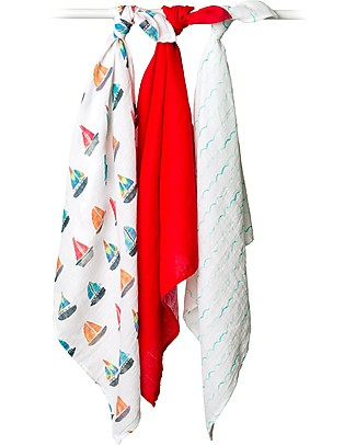 Lulujo Baby Set of 3 Cloths 70 x 70 cm, Sailboats - 100% cotton muslin Blankets