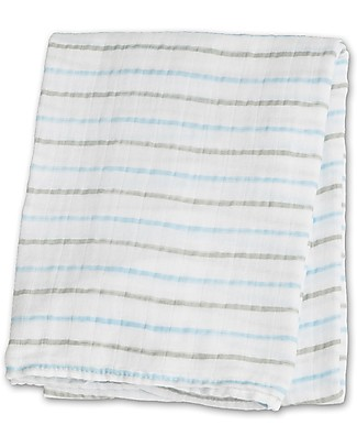 Lulujo Baby Swaddle Blanket 120 x 120 cm, Blue Messy Stripes - 100% cotton Swaddles