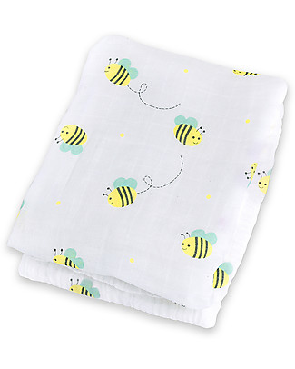 Lulujo Baby Swaddle Blanket 120 x 120 cm, Bumbling Bee - 100% cotton muslin Swaddles