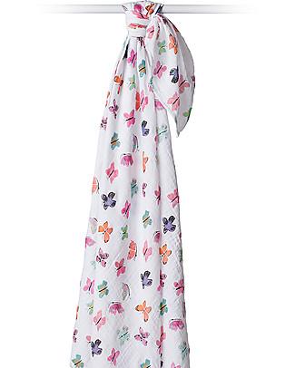 Lulujo Baby Swaddle Blanket 120 x 120 cm, Butterfly - 100% cotton muslin null