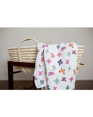 Lulujo Baby Swaddle Blanket 120 x 120 cm, Butterfly - 100% cotton muslin Swaddles