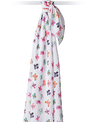 Lulujo Baby Swaddle Blanket 120 x 120 cm, Butterfly - 100% cotton muslin Swaddles