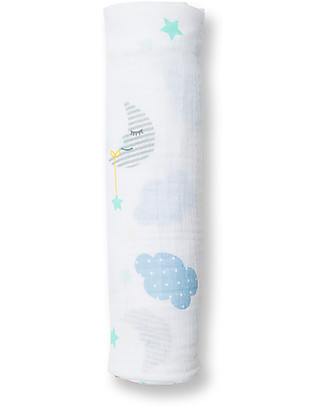 Lulujo Baby Swaddle Blanket 120 x 120 cm, Dreamland - 100% cotton muslin Swaddles