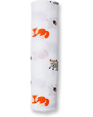 Lulujo Baby Swaddle Blanket 120 x 120 cm, Forest Friends - 100% cotton muslin Swaddles