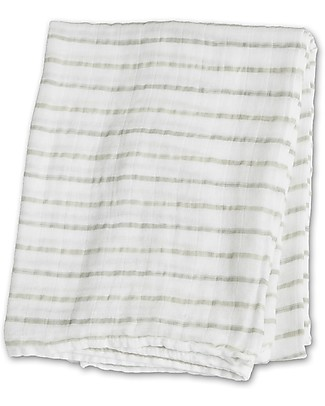 Lulujo Baby Swaddle Blanket 120 x 120 cm, Grey Messy Stripes - 100% cotton Swaddles