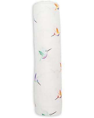Lulujo Baby Swaddle Blanket 120 x 120 cm, Hummingbird - Bamboo muslin Swaddles
