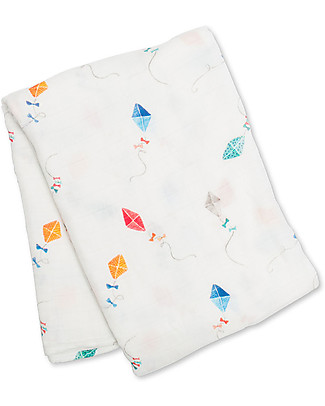 Lulujo Baby Swaddle Blanket 120 x 120 cm, Kite - Bamboo muslin Swaddles