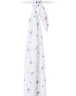 Lulujo Baby Swaddle Blanket 120 x 120 cm, Llama - 100% cotton muslin Swaddles