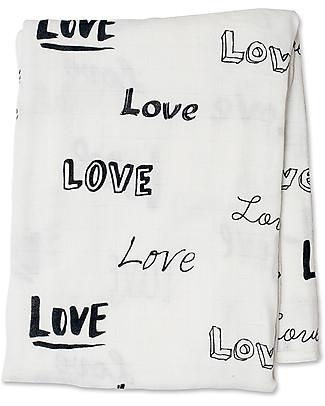 Lulujo Baby Swaddle Blanket 120 x 120 cm, Love - Bamboo muslin Swaddles