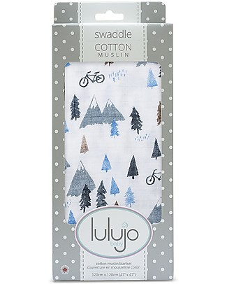 Lulujo Baby Swaddle Blanket 120 x 120 cm, Mountain Top - 100% cotton Swaddles