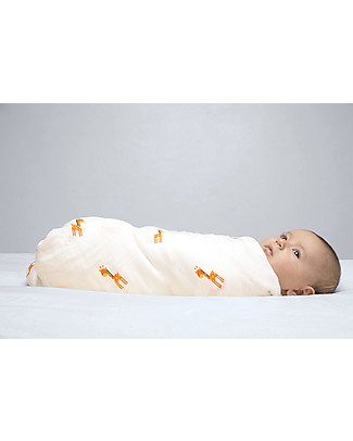 Lulujo Baby Swaddle Blanket 120 x 120 cm, My Giraffe - 100% cotton muslin Swaddles