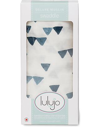 Lulujo Baby Swaddle Blanket 120 x 120 cm, Navy Mountain - Bamboo muslin Swaddles