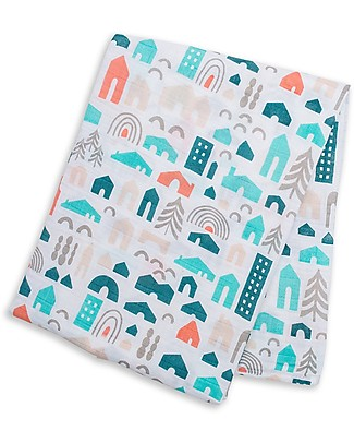 Lulujo Baby Swaddle Blanket 120 x 120 cm, neighbourhood - 100% cotton Swaddles
