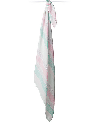 Lulujo Baby Swaddle Blanket 120 x 120 cm, Pink Stripes - Bamboo muslin Swaddles