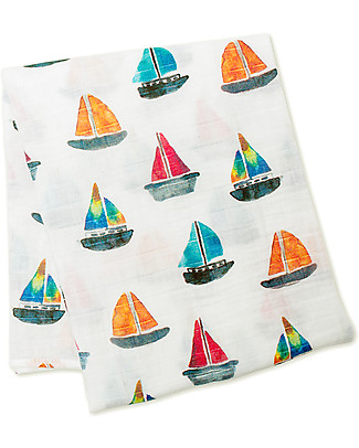 Lulujo Baby Swaddle Blanket 120 x 120 cm, Sailboats - 100% cotton muslin Swaddles