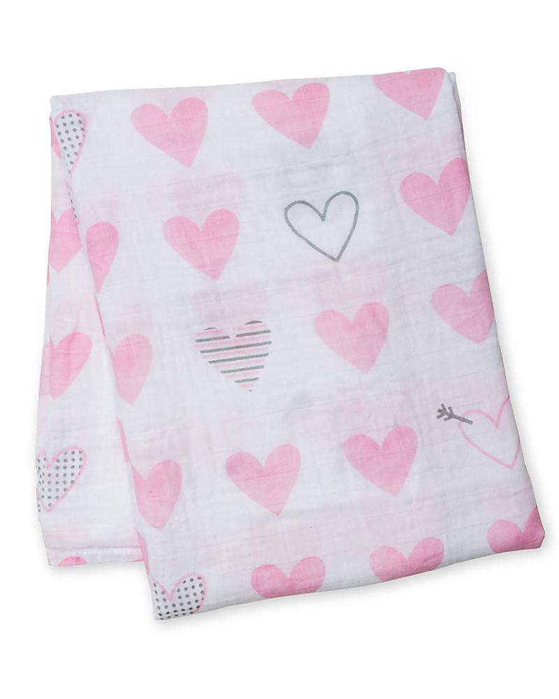Lulujo Baby Bamboo Muslin Swaddling Blanket Hearts