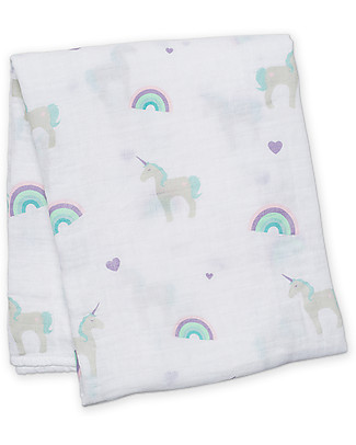 Lulujo Baby Swaddle Blanket 120 x 120 cm, Unicorns - 100% cotton muslin Swaddles