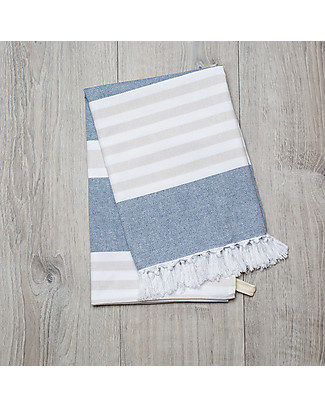 Lulujo Baby Turkish Towel 100 x 150 cm, Navy-Oatmeal - 100% cotton Towels And Flannels