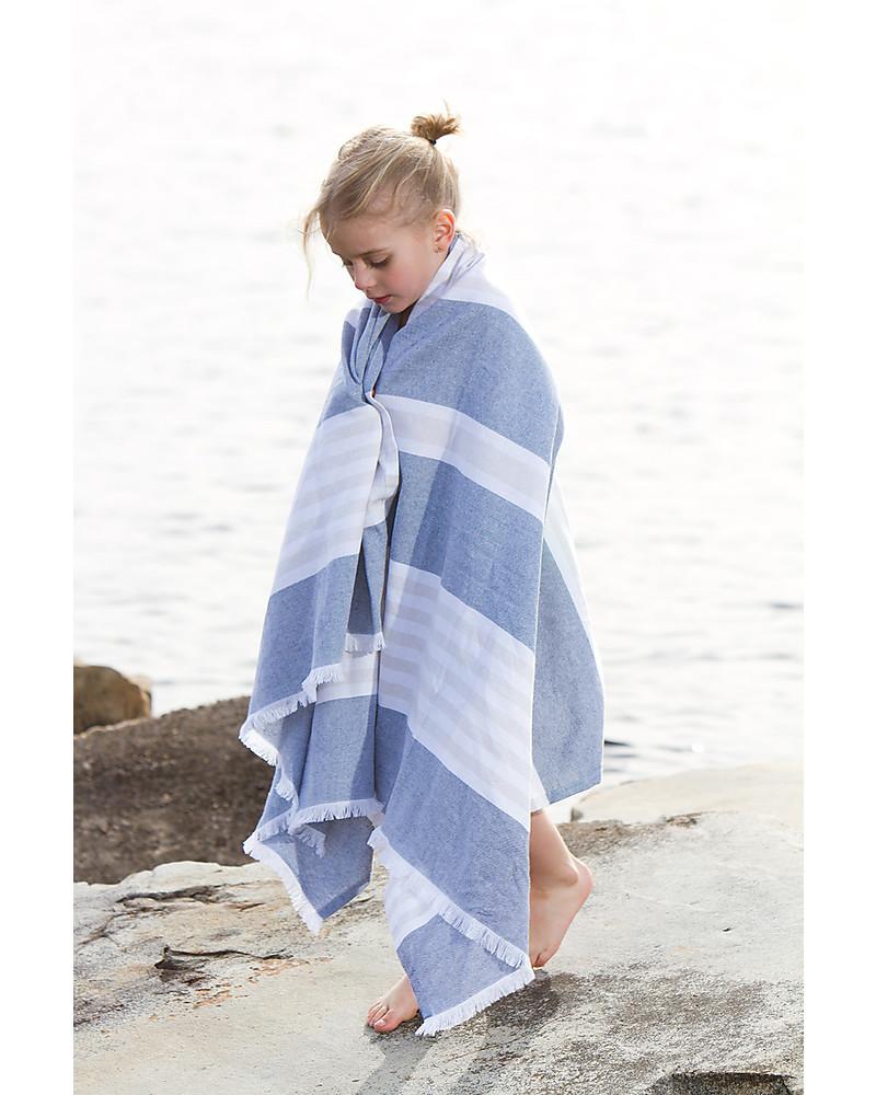Lulujo Baby Turkish Towel 100 X 150 Cm Navy Oatmeal 100 Cotton