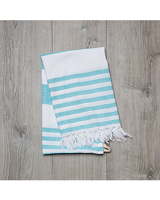 Lulujo Baby Turkish Towel 100 x 150 cm, Ocean Blue - 100% cotton Towels And Flannels