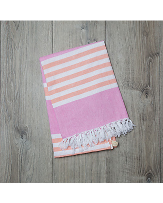 Lulujo Baby Turkish Towel 100 x 150 cm, Passion Pink & Apricot - 100% cotton null