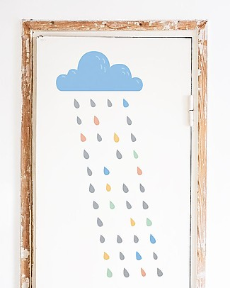 Made of Sundays Rain Cloud Fabric Wall Stickers -  Movable & Safe! Wall Stickers