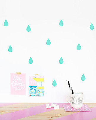 Made of Sundays Raindrops Wall Stickers – Mint – Responsible & Safe! Wall Stickers
