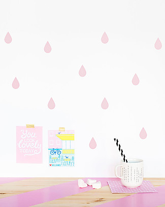 Made of Sundays Raindrops Wall Stickers – Pale Pink – Responsible & Safe! Wall Stickers