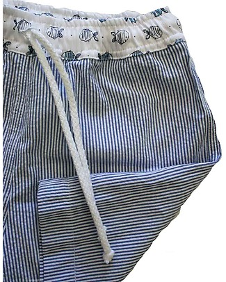 Maghi e Maci Firenze Boy's Swim Trunks, Fish/Stripes - 100% Cotton, Hand Made in Florence Swimming Trunks