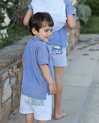 Maghi e Maci Firenze Boy's Swim Trunks, Flower/Stripes - 100% Cotton, Hand Made in Florence Swimming Trunks