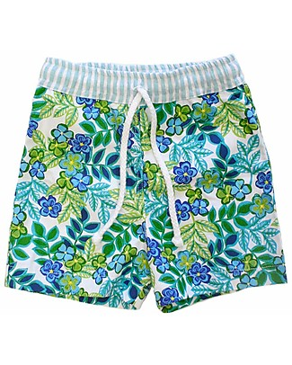 Maghi e Maci Firenze Boy's Swim Trunks, Green/Light Blue - 100% Cotton, Hand Made in Florence Swimming Trunks