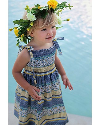 Maghi e Maci Firenze Maddalena Dress, Liberty/Blue/Yellow - 100% Cotton, Hand  Made in Florence Dresses