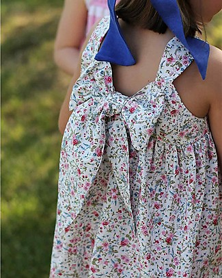 Maghi e Maci Firenze Raja Dress, White/Pink Flowers - 100% Cotton, Hand  Made in Florence Dresses