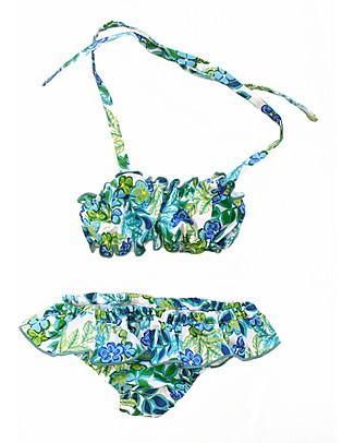 Maghi e Maci Firenze Two-Piece Swimsuit Floral/Green - 100% Cotton, Hand Made in Florence Bikinis And Tankinis
