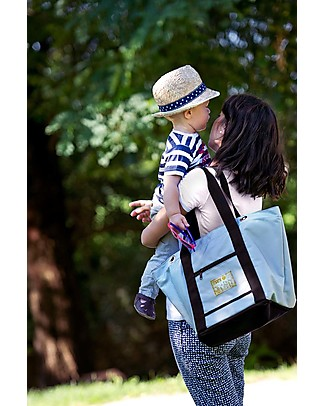 MAMI Mami Changing Bag, Light Grey/Black - Includes a changing mat! Made in Italy! Diaper Changing Bags & Accessories