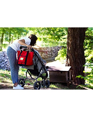 MAMI Mami Changing Bag, Red/Black – Includes a changing mat! Made in Italy! Diaper Changing Bags & Accessories