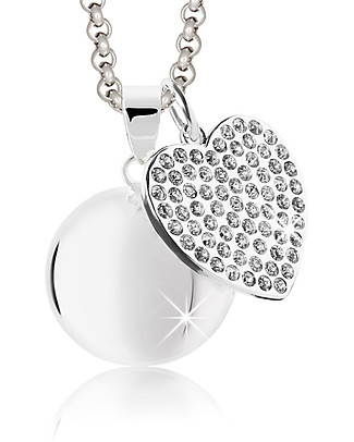 MAMIJUX Mexican Bola Heart with Swaroski - Nickel Free - Elegant and sweet Pregnancy Chimes