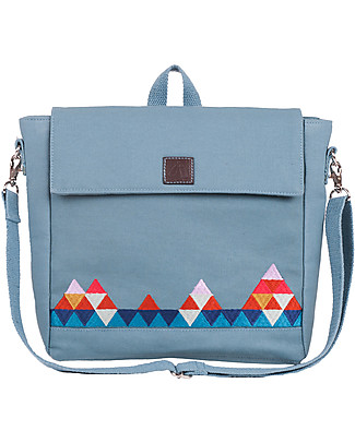 Mara Mea 2-in-1 Kindergarten Backpack/Shoulder Bag 25 x 21 cm, Zig Zag Wanderer Aqua – 100% waxed cotton Small Backpacks